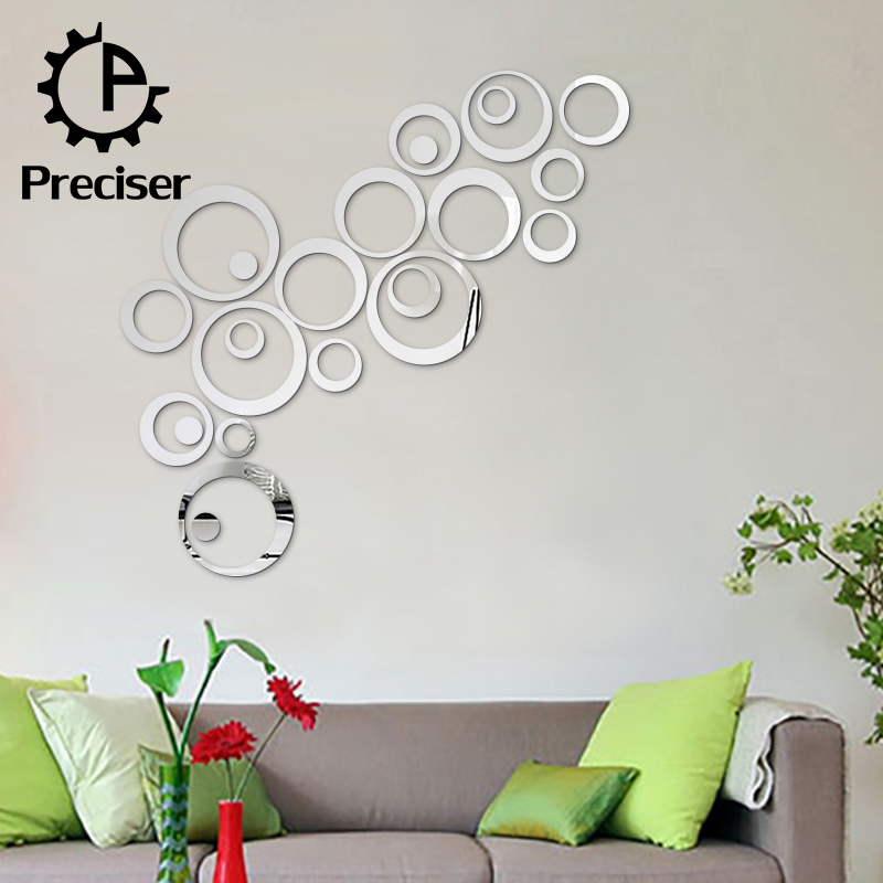 3D DIY Bedroom Decor Silver Circles Mirror Acrylic Wall Stickers Home Decor