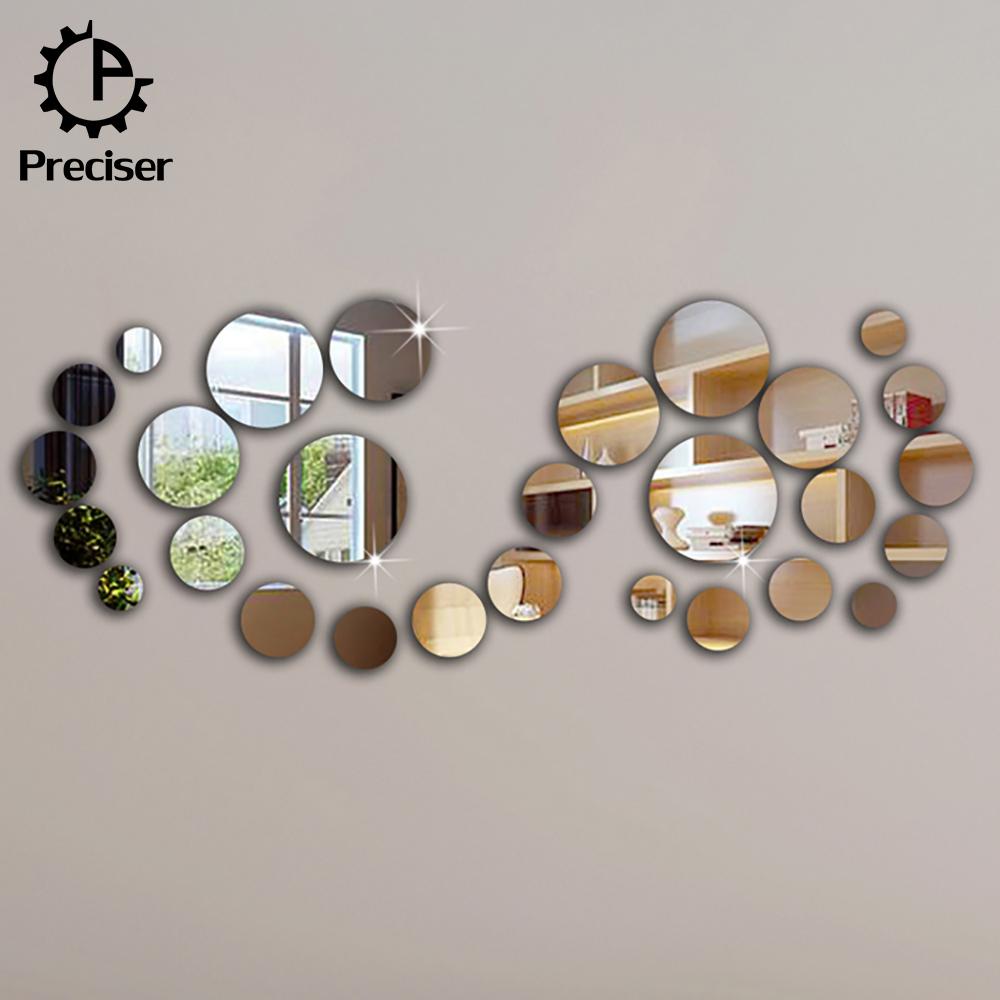 Preciser 28pcs Set Diy Rounds Mirror 3d Wall Stickers Home