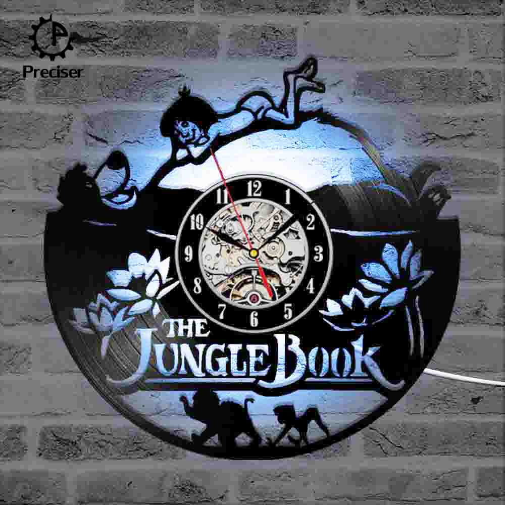 Details about  /The Jungle Book Theme CD Record Clock Vinyl LP Hanging Wall Clock Antique LED